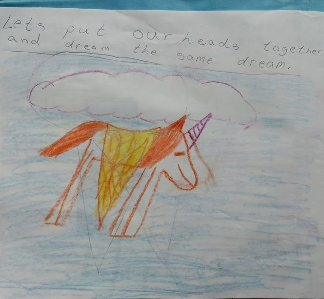 child's drawing of a flying unicorn with the caption Let's get together and dream the same dream.